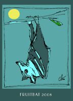JACQUELINE DITT - Fruitbat Fledermaus ltd.ACEO Druck Grafik Miniatur ger.sign.