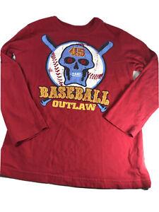 Children's Place Burgundy Long Sleeve Baseball Outlaw Shirt Boys Size Small 5/6