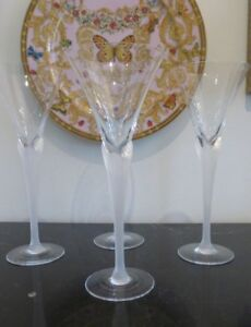 "SASAKI CRYSTAL AEGEAN FROSTED STEM WINE GLASSES 9 3/8"" H SET OF 4"