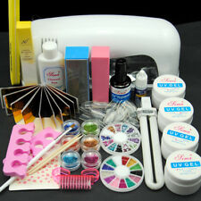 Acrylic Powder Nail Art Glitter 9W UV Lamp Dryer Gel Polish Tips Kit Set hot