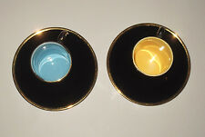 Vintage ReTrO Yellow &Blue Cup and Saucer Duo Palissy Madeleine 22 Carat Gold