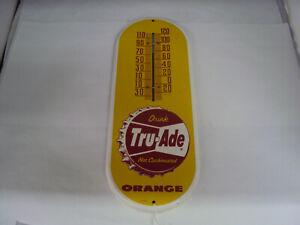 "VINTAGE ADVERTISING TRU-ADE ORANGE 15"" THERMOMETER    S-482"