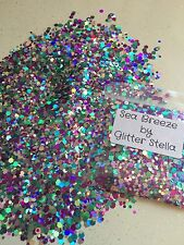 Nail Art Mixed Glitter ( Sea Breeze ) 10g Bag Holographic Chunky Sparkles