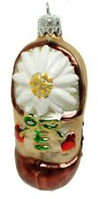 Vintage White Tan Brown Flower Glass Shoe Christmas Ornament Decoration