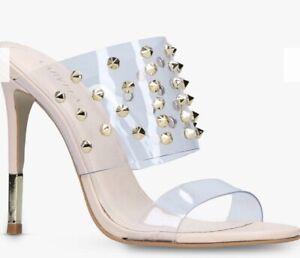 Kurt Geiger Carvela Clear Perspex Stud Ghost Shoes Heels Sandals BNIB UK 4/EU 37