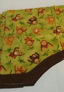 MONKEY Jungle  Window Valances Kids Infants Room Set of 4 Lined Green Brown