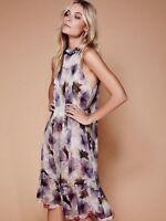 NWT  Stone Cold Fox Free People Print Dhalia Gardenia Silk Dress XS/S 0 2 4