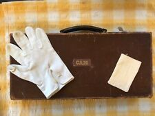 More details for antique leather hard masonic apron case with one glove and soft jewel holder