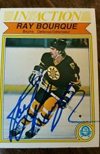1982-83 OPC RAY BOURQUE IN ACTION SIGNED CARD BOSTON BRUINS AVALANCHE  HOF # 24