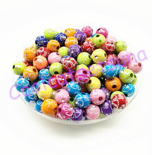 New 100Pcs 8mm Mixed Color Acrylic Round Spacer Loose Beads