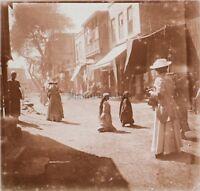 Viaggio IN Egitto Cairo Rue Modalità Placca Da Lente Stereo Vintage 1909