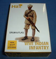 HAT 8236 WWI INDIAN INFANTRY. 1/72 SCALE. 32 UNPAINTED PLASTIC FIGURES.