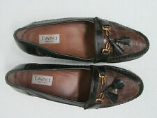 DAVINCI HAND MADE IN ITALY BLACK/BROWN LEATHER LOAFERS CROC Size MEN'S 10M