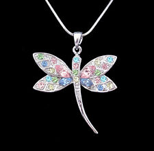 CRYSTAL DRAGONFLY PENDANT CHARM NECKLACE SILVER TONE CLEAR PINK BLUE MULTI COLOR