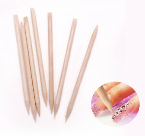 20 50 100 PCS Wooden Sticks Cuticle Pusher Remover Orange Wood Nail Art Manicure