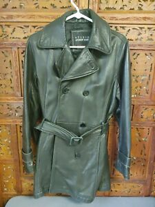 Wilsons Leather Andrew Marc Womens Black Leather Jacket Double Breasted Belt S