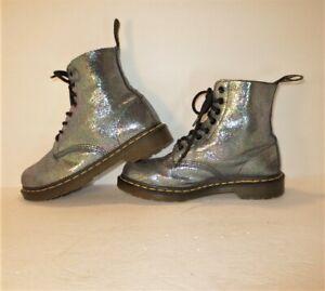 Rare! DOC MARTEN1460 Pascal  Metallic Blue Iridescent Sparkle 8-Eye Boots-Sz-8