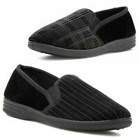MENS BLACK STRIPED WARM INDOOR HARD SOLE COMFY SLIP ON SLIPPERS SHOES SIZE 6-12