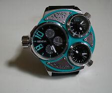 Elegant designer style GENEVA 3 time zone fashion  heavy men's watch