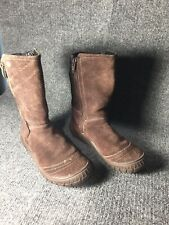 Clarks Brown suede zip gor tex youth boots 12.5 m