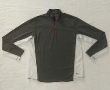 Eddie Bauer Mens Tall Large Grey White L/S Mesh Zip Shirt Polyester