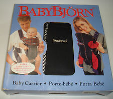 BABYBJÖRN Baby Carrier Original Classic Black Gingham Owner's Manual & Orig Box