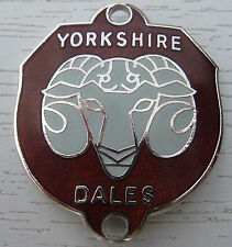 WALKING STICK BADGE WITH PINS-YORKSHIRE DALES- BRASS CHROMIUM PLATED - BRAND NEW