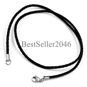 Twisted Braided Rope Black Leather Cord 22 Inch Chain Necklace w Silver Clasp