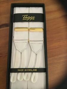 TAGGS WHITE MOIRE BRACES WHITE BRAID ENDS AND GOLD FITTINGS
