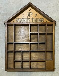 Vintage Wood Shadow Box House My Favorite Thing Knick Knack Display Wall Shelf