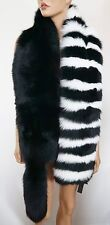 $1800 Authentic ANNABELLE New York Black White REAL FUR Stole Scarf