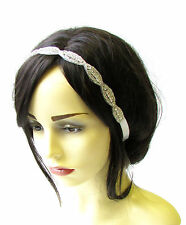 Ivory White Silver Diamante Beaded Headband Bridal Wedding Headpiece Vtg 2083