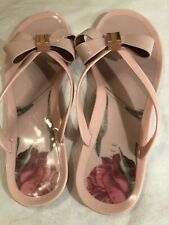 Ted Baker London Flip Flop Sandals W Rose Print, Lge Bow & Gold Tone Detaill, 10