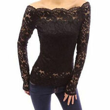 Womens Casual Off shoulder Lace Slim T-Shirt Top Ladies Long Sleeve Tops Blouse
