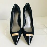 Coach Womens Black Suede Patent Leather Pointed Toe Pumps Heels Size 6 M Logo