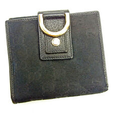 Gucci Wallet Purse Folding wallet GG Black Woman unisex Authentic Used Y6952