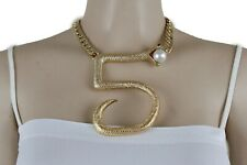 Women Gold Metal Chain Sexy Hip Hop Fashion Bling Necklace #5 Snake Bold Pendant