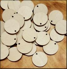 "100 1"" Wooden Circles with hole -  Disc Tags Labels Craft Supplies & Decorations"