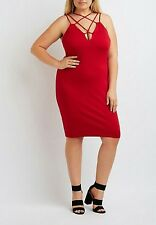 NWT Charlotte Russe Plus Size Strappy Bodycon Red Dress 1X