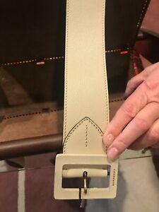 Burberry Authentic Women's Limestone Wide Leather Logo Belt
