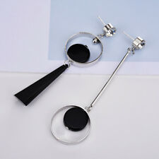 Lady Chic Asymmetric Rhinestone Stud Tassel Hoop Dangle Earrings Eardrop Silver