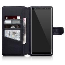 Funda Cartera de Cuero Genuino Real para 8 Samsung Galaxy Note-Negro