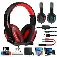 Stereo Sound LED Gaming Headset Noise Canceling Headphone w/Mic for Xbox One PS5