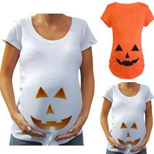 Womens Pumpkin Printed Short Sleeve Halloween Maternity Pregnancy Top T-shirt