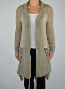 AllSaints Beige Jumper Cardigan Long Line Mohair Wool Blend Winter Size 10 12 AG