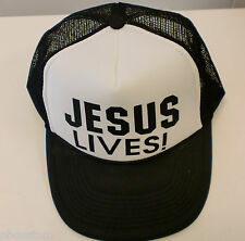 JESUS LIVES! SNAP BACK TRUCKER MESH BLACK HAT