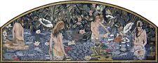 "56""x 140"" Handmade Mermaids Figure Marble Mosaic Design Home Art  Decor Stone"