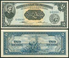 2 Pesos Philippine English Ser. QUIRINO - CUADERNO Jose Rizal Banknote