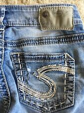 Women's SILVER jeans AIKO MID Skinny straight Distressed Contrast Stitch 24 x 29