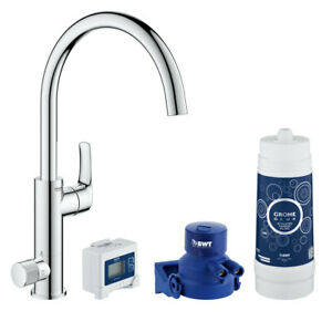 Blue Pure Euro Smart 1 to 5 Bar C Shaped Spout Filter Tap Starter Kit in Chrome
